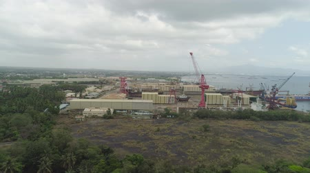 tersane : Aerial view of shipyard with ships in docks, cranes and warehouses. Batangas Shipyard, Philippines, Luzon.