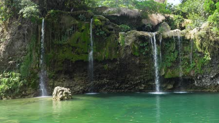 vízesés : Waterfall in green rainforest. Bolinao waterfall in the mountain jungle. Philippines, Luzon. Travel concept.