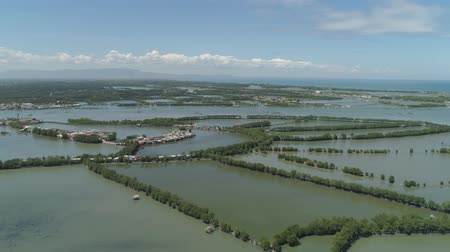 рыба : Town in cultivated mangroves, Ubagan, sto tomas. Fish farm with cages for fish and shrimp in the Philippines, Luzon. Aerial view of fish ponds for bangus, milkfish. Fish cage for tilapia, milkfish farming aquaculture or pisciculture practices.