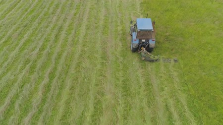 mow : Tractor mowing grass with a disc mower for animal feed. Aerial view Preparation feed silage with mower mounted on tractor. Stock Footage
