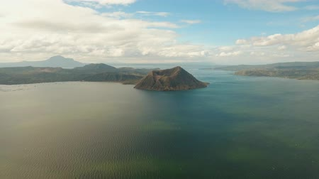 philippine : aerial footage Taal volcano on an island in middle lake. Luzon, Philippines Tropical landscape, mountains and volcano in the lake