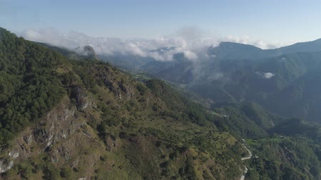 felhős : Aerial view of mountains covered forest, trees in clouds. Cordillera region. Luzon, Philippines. Slopes of mountains with evergreen vegetation. Mountainous tropical landscape.