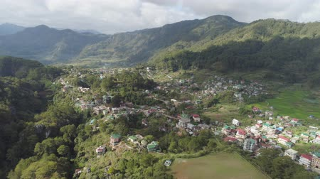 hamlet : Aerial view town of Sagada, located in the mountainous province of Philippines. City in the valley among the mountains covered with forest. Sagada-Cordllera region-Luzon island.