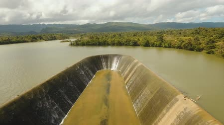 ダム : aerial footage Dam on lake in countryside. Water for Irrigation countryside.
