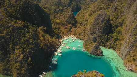 palawan : Aerial tropical lagoon with azure water and coral reef among rocks with tropical vegetation Kayangan Lake, Palawan, Philippines Travel concept, Aerial footage. Stock Footage