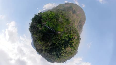 сферический : little planet view waterfall in green rainforest. triple tropical waterfall Sekumpul in mountain jungle. Bali,Indonesia. Travel concept. Aerial footage.