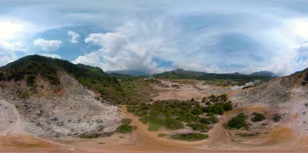 gejzír : vr360 plateau with volcanic activity, mud volcano, geothermal activity and geysers. aerial view volcanic landscape Dieng Plateau, Indonesia