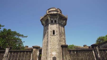 gyrophare : lighthouse in Palau island. Lighthouse in cape Engano against blue sky, province of Cagayan, Philippines.
