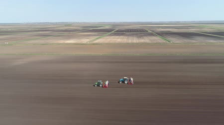 trator : Aerial view Special tractor equipped with equipment for planting green vegetables and lettuce in the cultivated field. Tractor with workers sows, put salad on the field. 4K, aerial footage.