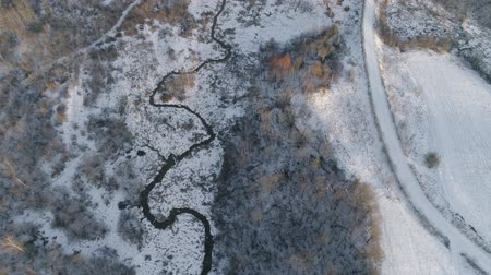 Aerial view: Winter landscape countryside, forest, river, snow. River, forest, trees covered with frost snow Aerial footage Vídeos