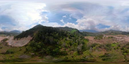 geiser : vr360 plateau with volcanic activity, mud volcano, geothermal activity and geysers. aerial view volcanic landscape Dieng Plateau, Indonesia