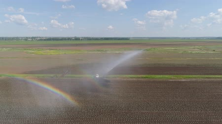 pulverizador : Aerial view crop irrigation using center pivot sprinkler system. An irrigation pivot watering agricultural land. Irrigation system watering farm land.
