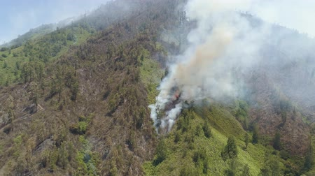 bush fire : aerial view forest fire smoke on the slopes hills. fire in mountain forest. wild fire in tropical forest, Java Indonesia. natural disaster fire in Southeast Asia