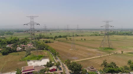 パイロン : Electricity pylons bearing power supply across agricultural land with sown green, rice fields in countryside. aerial view power pylons and high voltage lines java, indonesia.High voltage metal post, t 動画素材