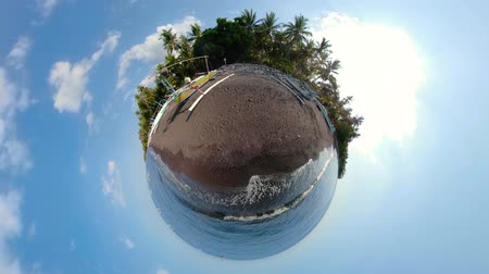 сферический : little planet view Fishing village with sandy beach and fishing boats tropical landscape Coastline with boats on black sand