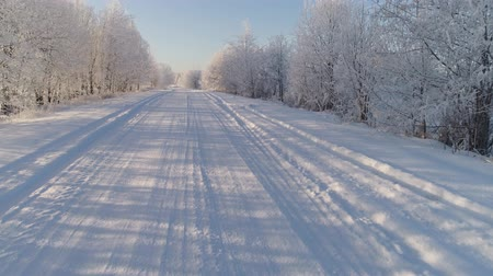 лед : aerial view winter landscape with road and trees covered snow. winter in countryside