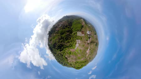planeta : ittle planet view landscape mountains with farmlands, village, fields with crops, trees. Aerial view of Mountains are covered with forest. Bali, Indonesia. Stock Footage