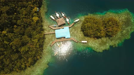 grande : aerial seascape islands in bays and lagoons with turquoise water bucas grande, sohoton cove. islands covered with green tropical forest surrounded by beautiful bays and lagoons tropical seascape blue sea, azure lagoon. Travel concept Stock Footage
