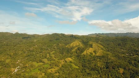 luzon : aerial footage Mountain landscape in Philippines slopes hills covered with green vegetation. Mountains covered with forest. Stock Footage