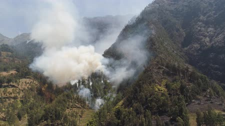 опасность : fire in mountain forest. aerial view forest fire and smoke on slopes hills. wild fire in mountains in tropical forest, Java Indonesia. natural disaster fire in Southeast Asia