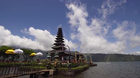 bratan : Hindu Temple Pura Ulun Danu Bratan, on Bratan lake. Balinese, old hindu architecture, Bali Architecture, Ancient design. 4K video. Travel concept. Stock Footage