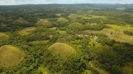 geológiai : Geological formations in form hills known as chocolate hills Bohol, Philippines. aerial footage Amazingly shaped Chocolate hills