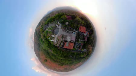 local de culto : little planet view buddhist temple Brahma Vihara Arama with statues of the gods. balinese temple, old hindu architecture, Bali architecture, ancient design. Travel concept. indonesia Stock Footage