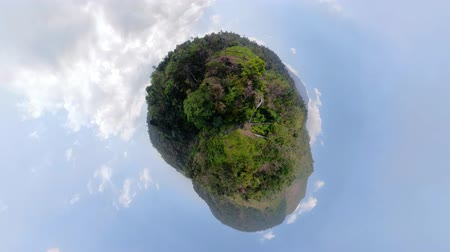 küresel : little planet view waterfall in green rainforest. triple tropical waterfall Sekumpul in mountain jungle. Bali,Indonesia. Travel concept. Aerial footage.