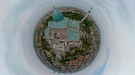 küresel : little planet view largest mosque in Indonesia Al-Akbar in Surabaya, Indonesia. aerial view mosque in modern city