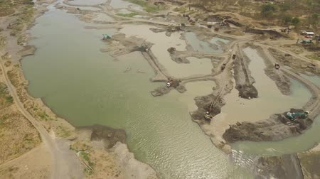 dredging : Aerial view excavator and heavy equipment, dredging and deepening the channel mountain river. Heavy dredging machine on river bank. Excavator dredge river. java, indonesia Stock Footage