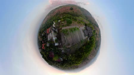 küresel : little planet view buddhist temple Brahma Vihara Arama with statues of the gods. balinese temple, old hindu architecture, Bali architecture, ancient design. Travel concept. indonesia Stok Video