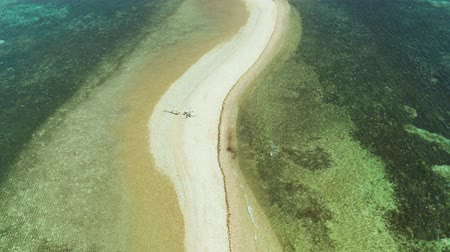 tyrkysový : Aerial drone tropical island in lagoon with sand bar. Palawan, Philippines. tropical landscape with island and beache Dostupné videozáznamy