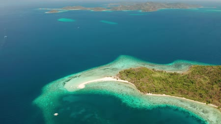chiringuito : Aerial view tropical beach on island Ditaytayan. tropical island with white sand bar, palm trees and green hills. Travel tropical concept. Palawan, Philippines