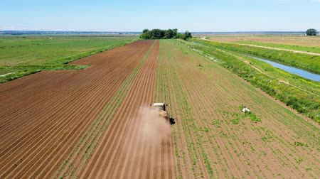 plough land : Tractor Hilling Potatoes with disc hiller in a potato field aerial view. Farmers preparing land and fertilizing Stock Footage