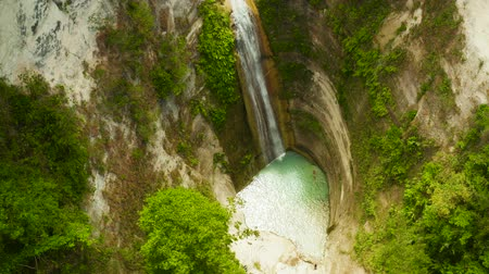 cebu : Waterfall in the rainforest jungle from above. Tropical Dao waterfalls in mountain jungle. Philippines, Cebu Stock Footage