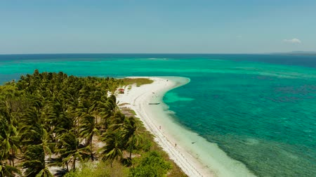 balabac : Small tropical island with coral reef and the sandy beach, top view. Summer and travel vacation concept. Canimeran Island, Balabac, Palawan, Philippines.