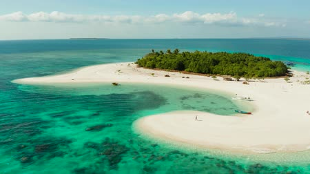 island hopping : Travel concept: sandy beach on a tropical island with palm trees by coral reef atoll. Patawan island with sandy beach. Summer and travel vacation concept.