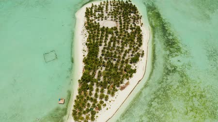 island hopping : Sand beach and tropical islands by atoll with coral reef, top view. Onok Island, Balabac, Philippines. Summer and travel vacation concept Stock Footage
