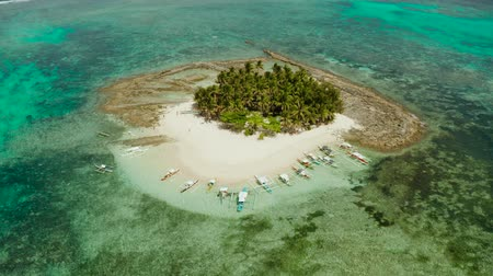 island hopping : Tropical island with beautiful beach, palm trees and turquoise water view from above. Guyam island, Philippines, Siargao. Summer and travel vacation concept