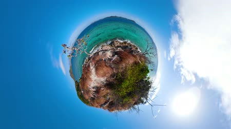 clear water beach : Seascape with tropical islands and blue water, little planet view. Lagoon with turquoise water. Stock Footage