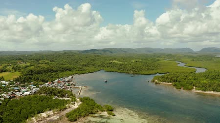 siargao island : Village near mangroves in the bay of the ocean, top view. Siargao island, Philippines.