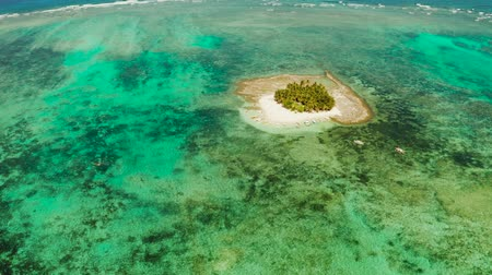 siargao island : Travel concept: sandy beach on a small island by coral reef atoll from above. Guyam island, Philippines, Siargao. Summer and travel vacation concept.