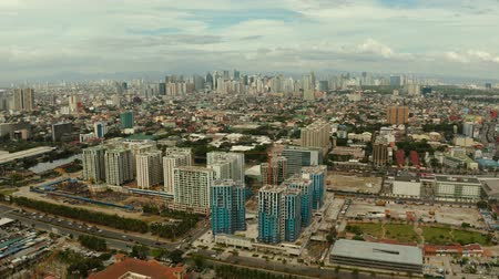 metropolitan area : Aerial view of Panorama of Manila with skyscrapers and business centers in a big city. Travel vacation concept