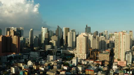 metropolitan area : Skyscrapers and business centers in a big city Manila. Modern metropolis in Asia, top view. Stock Footage