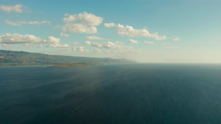 cebu : Blue sky with clouds over the sea and islands, aerial view. Seascape: Ocean and sky Cebu, Philippines. Stock Footage