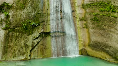 cebu : Dao waterfalls in a mountain gorge in the tropical jungle, Philippines, Cebu. Waterfall in the tropical forest.