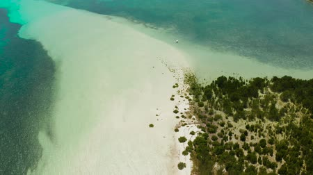 balabac : Tropical island with beautiful beach, palm trees by turquoise water view from above. Summer and travel vacation concept.
