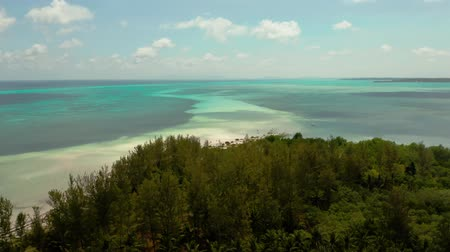 balabac : Coast of a tropical island with a sandy beach and turquoise water, top view. Punta Sebaring, Balabac, Palawan. Summer and travel vacation concept. Stock Footage
