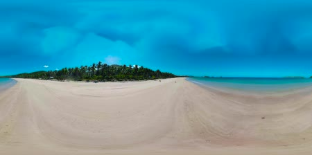 white sand : Aerial view of tropical island with sandy beach 360VR. Nacpan, El Nido, Palawan, Philippines. Seascape with sea, sand, palm trees. Summer and travel vacation concept