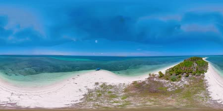 island hopping : Tropical island Canimeran with sandy beach in the blue sea 360VR top view. Summer and travel vacation concept. Balabac, Palawan, Philippines.